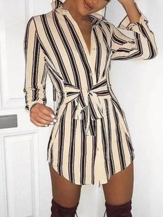 Ninimour Womens Self-Belt Stripe Print Casual Shirt Blouse Dress at Women's Clothing store: Mode Outfits, Dress Outfits, Fashion Dresses, Fashion Clothes, Casual Summer Dresses, Casual Outfits, Casual Shirt, Dress Summer, Spring Summer