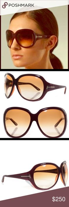 """Tom Ford """"Sabrina"""" Oversized Sunglasses These authentic like new Tom Ford contour sunglasses feature a plastic frame and gradient lenses. Logo lettering at left lens and metal accent at temples. 100% UV protection.  Soft black velvet Case with magnetic closure and information packet with certificate of authenticity included.  * 5.5"""" wide (measured from temple edges) and 2.25"""" high. * Made in Italy. Tom Ford Accessories Sunglasses"""