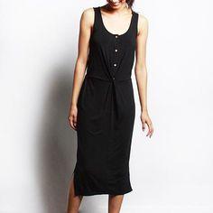 Black Twist + Button Midi Dress