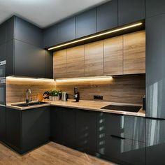 New Kitchen Interior, Modern Kitchen Interiors, Luxury Kitchen Design, Kitchen Room Design, Kitchen Cabinet Design, Home Decor Kitchen, Home Interior Design, Interior Architecture, Kitchen Furniture