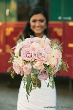 Pink Rose Bridal Bouquet with Green Seeded Eucalyptus - The French Bouquet - Imago Vita Photography