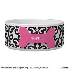 Personalized damask pink dog bone pet food bowl Dog Food Bowls, Pet Bowls, Red Dog, Pink Dog, Bowl Designs, Dog Bones, Pet Tags, Dog Paws, Pet Collars