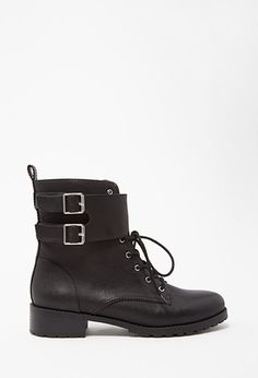 Buckled Faux Leather Boots | Forever 21 - 2000163113
