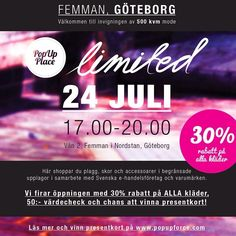 På torsdag händer det!!! Vi inviger den 500kvm stora #popupplace #limited i #femman #nordstan i #göteborg och du är välkommen på öppningen!!...