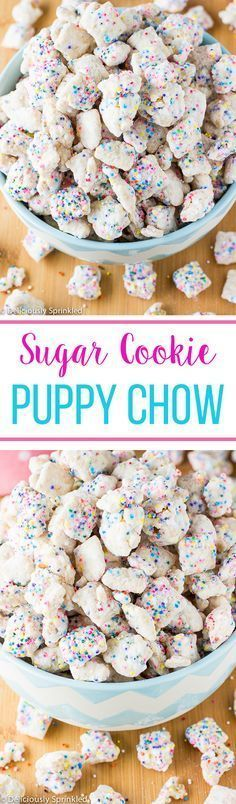 No-Bake Sugar Cookie Puppy Chow- easy dessert or snack. No Bake Dessert! Puppy Chow Recipes, Chex Mix Recipes, Cookie Recipes, Snack Recipes, Dessert Recipes, No Bake Kids Recipes, Cereal Recipes, Yummy Treats, Sweet Treats