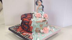 Twins birthday cake spiderman & princess jasmine