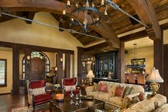Rustic Elegance living room from a different angle Rustic House, House Design, Pretty House, Great Rooms, Rustic Elegance Living Room, New Homes, Interior Design, Home Decor Furniture, Rustic Elegance