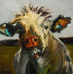 Diane Whitehead Paintings - Silly Cow  by Diane Whitehead