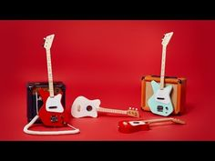 MELBOURNE MUSIC CENTRE -  LOOG 3 STRING KID'S MINI GUITAR RED  - Musical Instruments