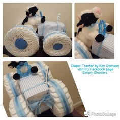 Diaper Tractor! Adorable baby shower gift! Includes over 100 diapers! Check out my Facebook page Simply Showers for more pics and orders.