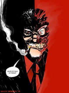 I drew Two-Face. Comic Book Characters, Comic Book Heroes, Comic Character, Comic Books Art, Comic Art, Dc Comics Art, Marvel Dc Comics, Two Face Batman, Lee Bermejo