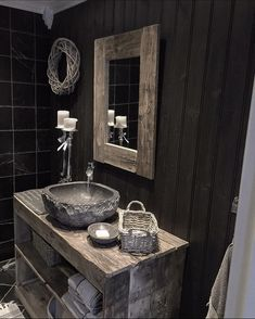 13 Tips to Make Your Bathroom Sparkle . Cabin Bathrooms, Rustic Bathrooms, Dream Bathrooms, Modern Bathroom, Rustic Bathroom Designs, Bathroom Interior Design, Interior Decorating, Stone Sink, Cabin Interiors