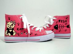 Hand Painted Sneakers  Cat dream by FashionTaboo on Etsy, $70.00 Painted Sneakers, Converse Chuck Taylor, High Top Sneakers, Hand Painted, Pairs, Etsy, Painting, Color, Shoes