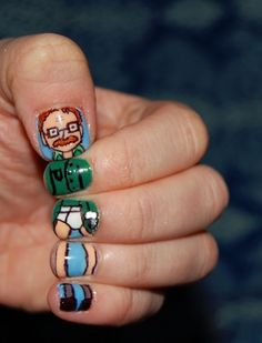 Walter White Nail Art, for all the Breaking Bad fans out there Pretty Nail Designs, Simple Nail Art Designs, Easy Nail Art, Halloween Nail Designs, Halloween Nail Art, White Nail Art, White Nails, Breaking Bad, Nail Art Blanc