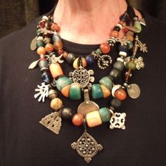 Draa Valley (south Morroco)-old coins,silver,pendants,amber,amazonite,coral shell more or less 100yrs old NECKLACE4FEVRIER4.T.0561