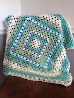 Hand Crocheted Afghan Baby Blanket Granny Square