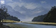 New Zealand, River, Mountains, The Originals, Gallery, Artwork, Nature, Painting, Outdoor