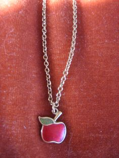 Vintage Goldtone Enamel Avon Apple Necklace -  I had this along with the Avon apple earrings.