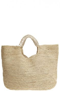 Large raffia beach tote with metallic leather handles