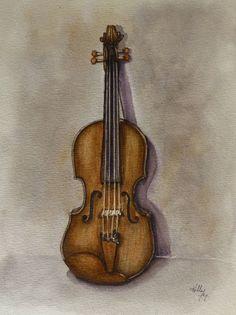 Stradivarious Violin Original Watercolor Painting | eBay