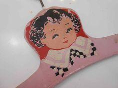Wooden Clothes Hanger Vintage Antique Child Pink