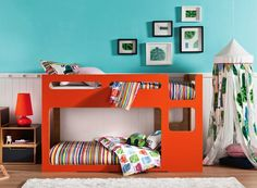 A modern, low-to-the-ground bunk bed – perfect for the boys to share a room in a year or two!