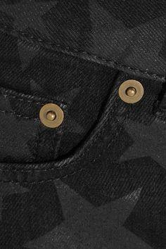 Saint Laurent - Cut-off Printed Stretch-denim Shorts - Midnight blue -