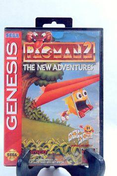 1990s, Video Games, Pac Man, Pac Man Birthday, Sega Genesis, Sega, Sega Genesis Games, Retro Gaming, Retro Games, by DoorCountyVintage on Etsy