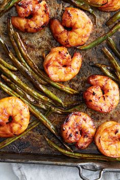 Sheet-Pan Gochujang Shrimp and Green Beans Recipe - NYT Cooking - replace soy sauce with coconut aminos Dry Fried Green Beans, Shrimp And Green Beans, Seafood Recipes, Dinner Recipes, Cooking Recipes, Nytimes Recipes, Seafood Meals, Shellfish Recipes, Grill Recipes