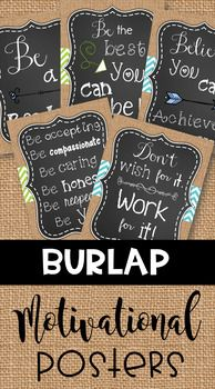 Motivational Posters: Burlap Classroom Decor