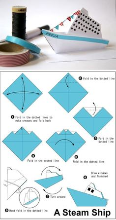 Simple origami steamer ship: