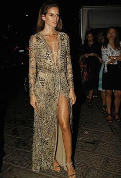 la modella mafia Izabel Goulart at the 2014 Amfar Milano event in an Emilio Pucci dress