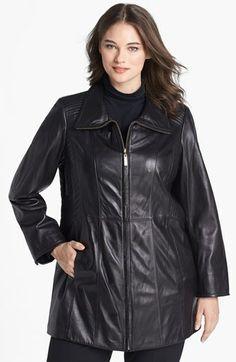 Ellen Tracy Leather Pantcoat (Plus Size) (Nordstrom Exclusive) | Nordstrom