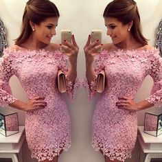 High Fashion Nice Pink Lace Slim Mini Dresses only $24.99 in ByGoods.com!
