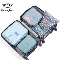 2017 6pcs/set Fashion Double Zipper Waterproof Polyester Men and Women Luggage Travel Bags Packing Cubes