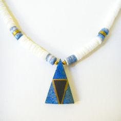 Blue and Brass Heishi Necklace by Beyond Buckskin Boutique