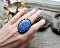 Lapis Lazuli ring, blue gemstone, big ring, statement ring, gemstone jewelry, bohemian ring, gypsy, bohosummer, eco tin, mariaela jewelry