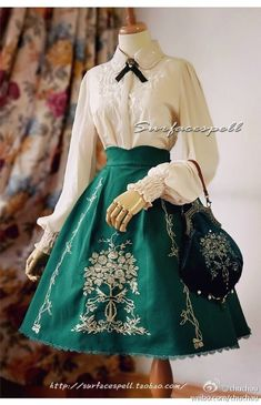 """""""The Golden Thread"""" skirt and bag in velvet by Surface Spell (Spring I love this outfit! Kawaii Fashion, Cute Fashion, Look Fashion, Fashion Design, Classy Fashion, Vintage Dresses, Vintage Outfits, Vintage Fashion, Moda Lolita"""