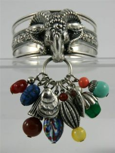 Exceptional Extremely RARE Napier Rams Head Charm Cuff Bracelet