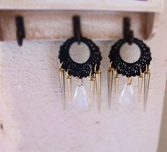 Hoop long earrings/ Hoop black earrings by Calliopesboutique on Etsy Tribal Earrings, Black Earrings, Hoop Earrings, Handmade Jewelry, Unique Jewelry, Handmade Gifts, Crochet Earrings, Chandelier, Drop