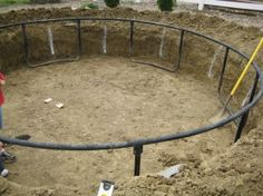 How to install a trampoline in ground- maybe we will do this someday- seems way cooler than above ground!