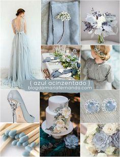 Decoração de Casamento : Paleta de Cores Azul Acinzentado | Blog de Casamento DIY da Maria Fernanda
