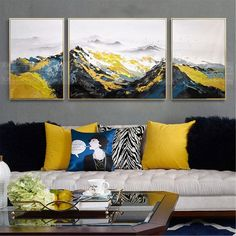 3 pieces abstract oil painting on canvas wall art pictures for living room home hallway thick texture original acrylic gold mountain decor Living Room Pictures, Wall Art Pictures, Art Pour Salon, Images D'art, Bedroom Frames, Mountain Decor, Cactus Wall Art, Mountain Paintings, Wall Canvas