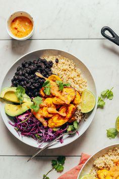 DELICIOUS Black Bean Plantain Bowls! 10 healthy ingredients, BIG flavor, SO satisfying! #vegan #glutenfree #plantains #beans #plantbased #minimalistbaker