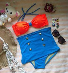 Tangarine high waist swimwear. $22