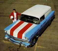 '56 Chevy sedan delivery pure stock drag racer. Deliverys and wagons were popular because more weight to rear equaled more bite.