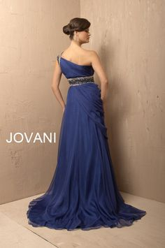 Royal blue one shoulder chiffon gown. 3012