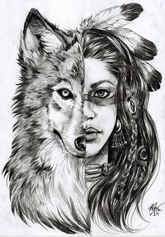 art, awesome, cute, draw, girl, indian, love, smile, wolf