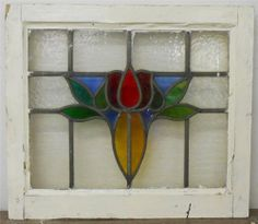 """OLD ENGLISH LEADED STAINED GLASS WINDOW Pretty Colorful Flower 21.25"""" x 18.5"""""""