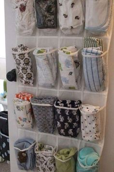 Store baby blankets and/or burp cloths in a shoe organizer on the back of the door. Store baby blankets and/or burp cloths in a shoe organizer on the back of the door. Baby Boy Rooms, Baby Boy Nurseries, Baby Boys, Nursery Boy, Diy Nursery Decor, Babies Nursery, Neutral Baby Nurseries, Baby Room Decor For Boys, Baby Girl Nusery